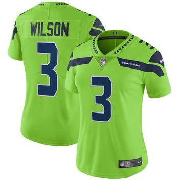 Women's Seattle Seahawks Russell Wilson Nike Neon Green Vapor Untouchable Color Rush Limited Player Jersey