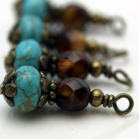 Vintage Style Turquoise Melon with Brown Czech and Brass Bead Dangle Charm Drop Set