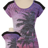 Burnout Palm Tree Print Dolman Tee - maurices.com
