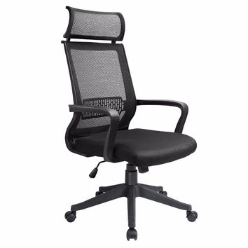 homall  Office Chair Mid Back Swivel Lumbar Support Desk Chair, Computer Ergonomic Mesh Chair With Armrest (Black)