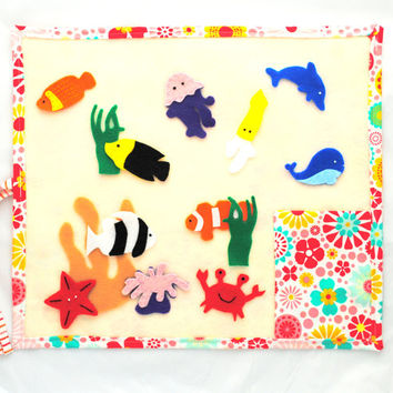 Travel Felt Board with Flowers // Orange and Red Felt Mat  // Fish Felt Board