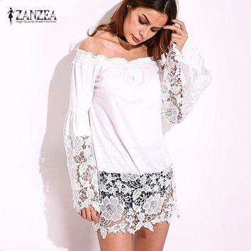 PEAP78W 2017 ZANZEA Women Autumn Slash Neck Off Shoulder Lace Crochet Splice Bell Sleeve Summer Party Blouse Tops Shirt Blusas Plus Size