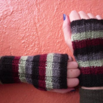 Free Shipping! Knitted Fingerless Gloves Arm Warmers Knitted Mittens Knit Gloves Multicolor Gloves