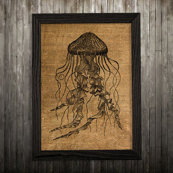 Nautical print Burlap art Jellyfish poster Marine print BLP212