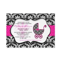 Chic Pink Polka Dot Damask Baby Shower Invite from Zazzle.com
