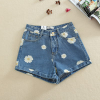 Dark Blue Denim Daisy Shorts