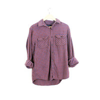Lived-in Sun Washed Vintage Flannel Shirt |Plaid Grunge| Festival | Boho  | M  Red | Blue | Brown | Buy 2 Get 1 Free