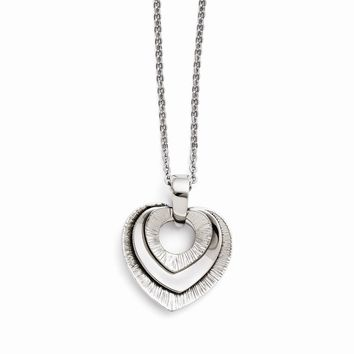 Stainless Steel Heart Three Piece Polished Necklace