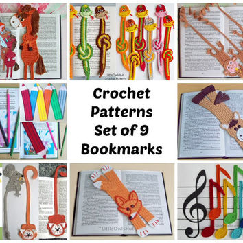 9 bookmarks set Amigurumi Crochet Patterns - 8 Pdf files by Zabelina Etsy
