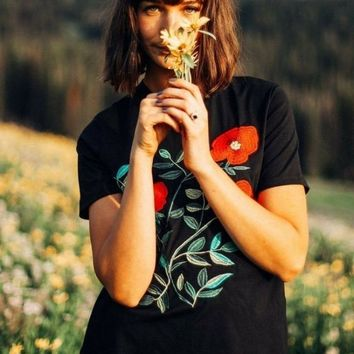 Poppys Embroidered Black Tee