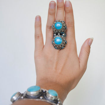 Silver ring turquoise Boho, Tribal Afghan double ring, ring statement Gypsy, ethnic turquoise ring