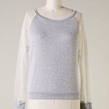 Fresh & Fly Knit Top -- Grey