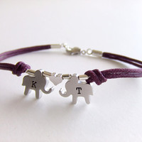 Elephants Jewelry Bracelet, Silver Charms, Initialized Personalized Jewelry, Best Friend, Boyfriend, Girlfriend, Gift for Her