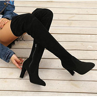 Leather Zipper High Boots High Heels Shoes
