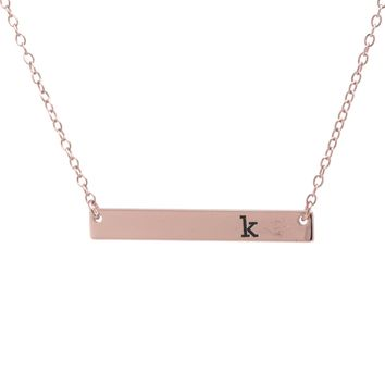 Rose Gold Over Sterling Silver Initial Bar Necklace