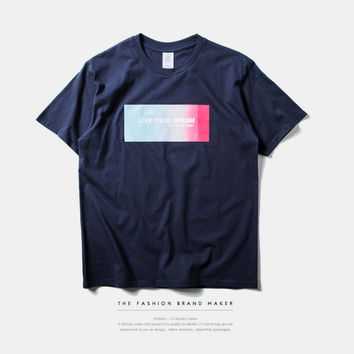 """""""Live your Dream"""" Rainbow and Letter Print Short Sleeve T-Shirt"""