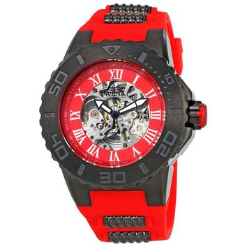 Invicta Pro Diver Automatic Red Skeleton Dial Mens Watch 24743