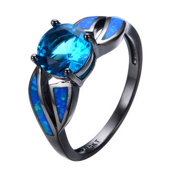 Antique Claw Rings Ocean Blue Fire Opal Stone Light Blue Stone Jewelry Women Men Engagement Band Black Gold Filled Wedding