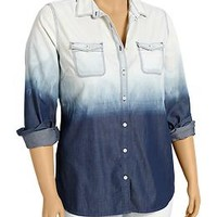 Women's Plus Dip-Dye Chambray Shirts