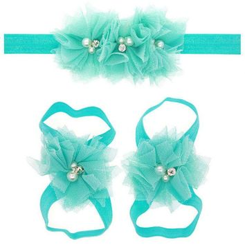 Cute Toddle Infant Baby Girls Lace Hair Band Matching Barefoot Sandals Foot Flower Pearl Drill Headband Tiara Beach Summer