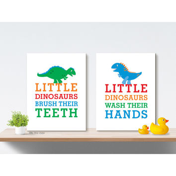 Dinosaur Bath Decor Boy Bathroom Art Prints