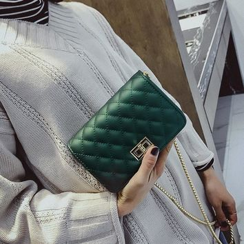 Fashion Quilted Solid Color Chain Small Square Bag Women Scrub Single Shoulder Messenger Bag