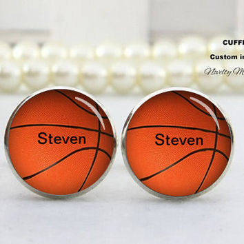 Basketball  basketball   Cufflinks , Customer Text name, wedding cufflinks,,Best Gifts For Father, with Free Gift Box,