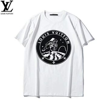 LV Louis Vuitton 2019 early spring new space astronauts print men and women round neck short-sleeved T-shirt White