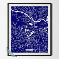 Reading Print, England Poster, Reading Poster, Reading Map, England Print, England Map, Street Map, Home Decor, Wall Art