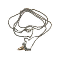 LUV AJShark Tooth Charm Necklace Brass Ox with Antique Silver
