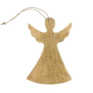 Hanging Wooden Angel with Wings Christmas Ornament, Natural, 6-1/4-Inch