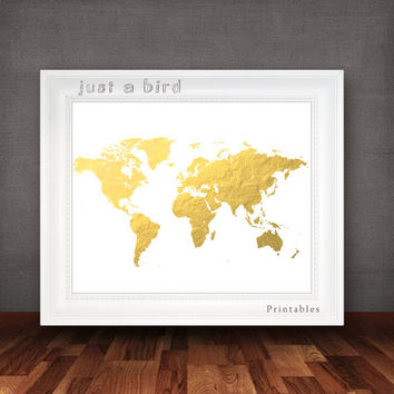 Best gold world map poster products on wanelo faux gold foil world map art gold map poster gold and white travel gumiabroncs