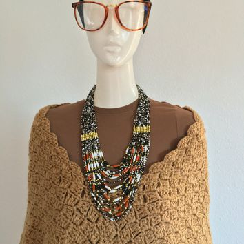 SOLD: Vintage: Brown Crochet Poncho
