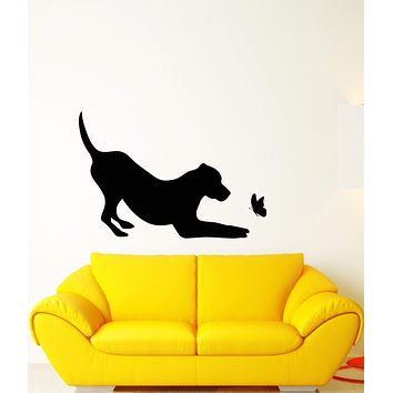 Vinyl Wall Decal Pet Shop Silhouette Dog With Butterfly Animal Stickers (2921ig)