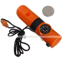 7 in 1 Multi Function Hiking Camping Survival Whistle Orange - Default