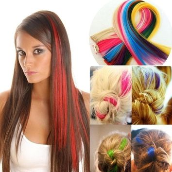 2PCS Hair Piece Long Straight Wigs Clip In Hair Extensions Hair Accessories Party Cosplay Wigs