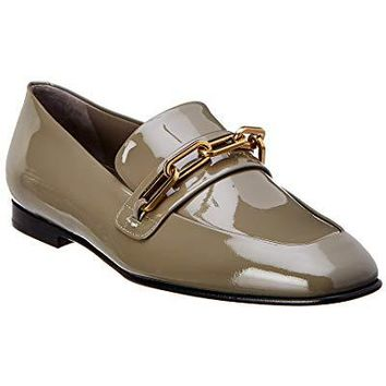 BURBERRY Chillcot Apron Toe Patent Loafer, 36, Grey