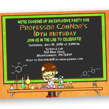 Crazy Scientist Birthday Invitation - Boy Chemistry Party - Lab Coat Birthday Invitations - Neon Green Orange Invites - Custom Hair Colors