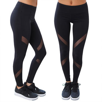 Black and Sheer Mesh Insert Sports Leggings