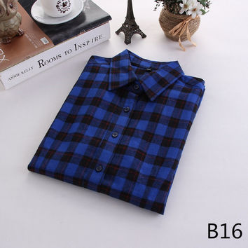 For Her: Vibrant Blue Medium - 5XL Plaid Flannel Long Sleeve Shirt