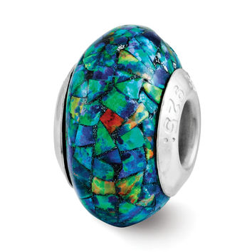 Sterling Silver Reflections Synthetic Opal Mosaic Bead QRS3191 Size: 14.55 x 8.18 mm QRS3191