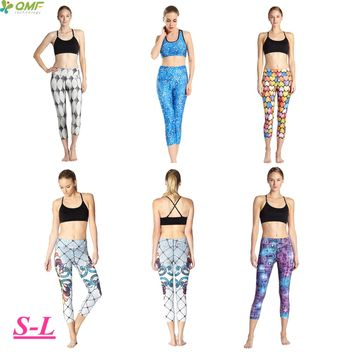 Muliticolor Heart Running Capris Blue Mermaid Fitness Sports Skinny Tights Super Stretched Athletic Exercise Crop Leggings Women