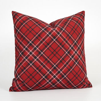Plaid Pillow Cover. Red Cushion Cover. Retro Cushion. Red Throw Pillow Cover. Faux Tartan Cushion. Dark Red Pillow. Plaid Decorative Pillow