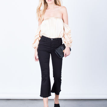 Flared and Frayed Culotte Pants
