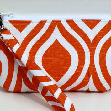 Wristlet/Zippered Pouch Makeup Bag Orange Tangerine Metro