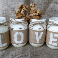 Rustic Wedding Mason Jar Table Decor, Centerpiece, Home Decor, Jar Wrap, Rustic Party Decor