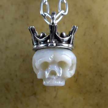READY TO SHIP - Carved Pearl Skull Wearing Sterling Silver Crown- Skull Jewelry - Skull Pendant - Pearl Necklace - Unique Gift