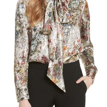 Tory Burch Tie Neck Metallic Floral Blouse | Nordstrom
