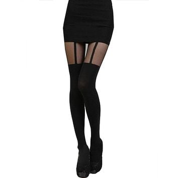 Fashion Tights Bow Tattoo Mock Bow Suspender Sheer Stockings Pantyhose
