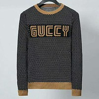 GUCCI 2018 trend men's round neck knit pullover sweater Gold